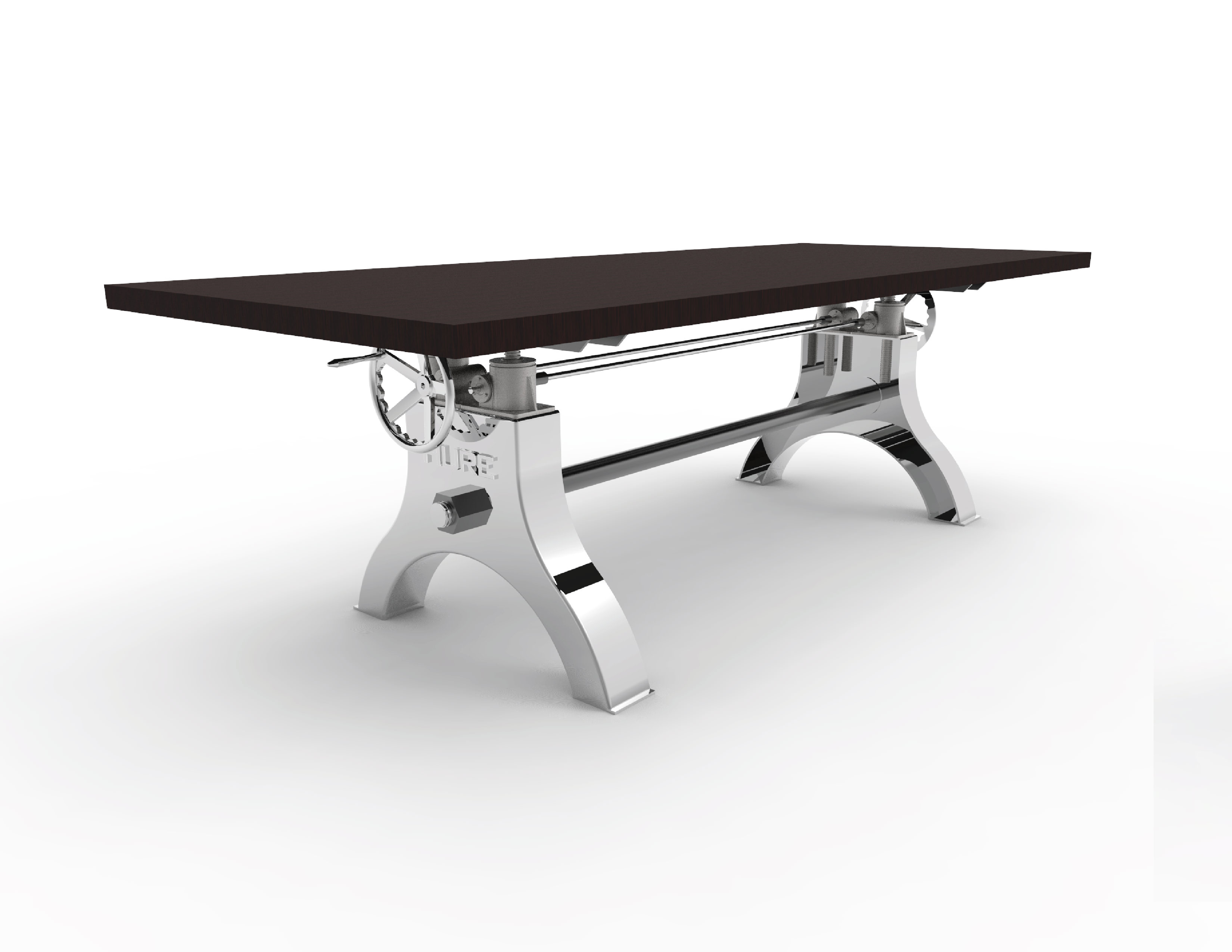 Hure Table Base Hure Crank table with polished base and black wood top - Model #CPT25