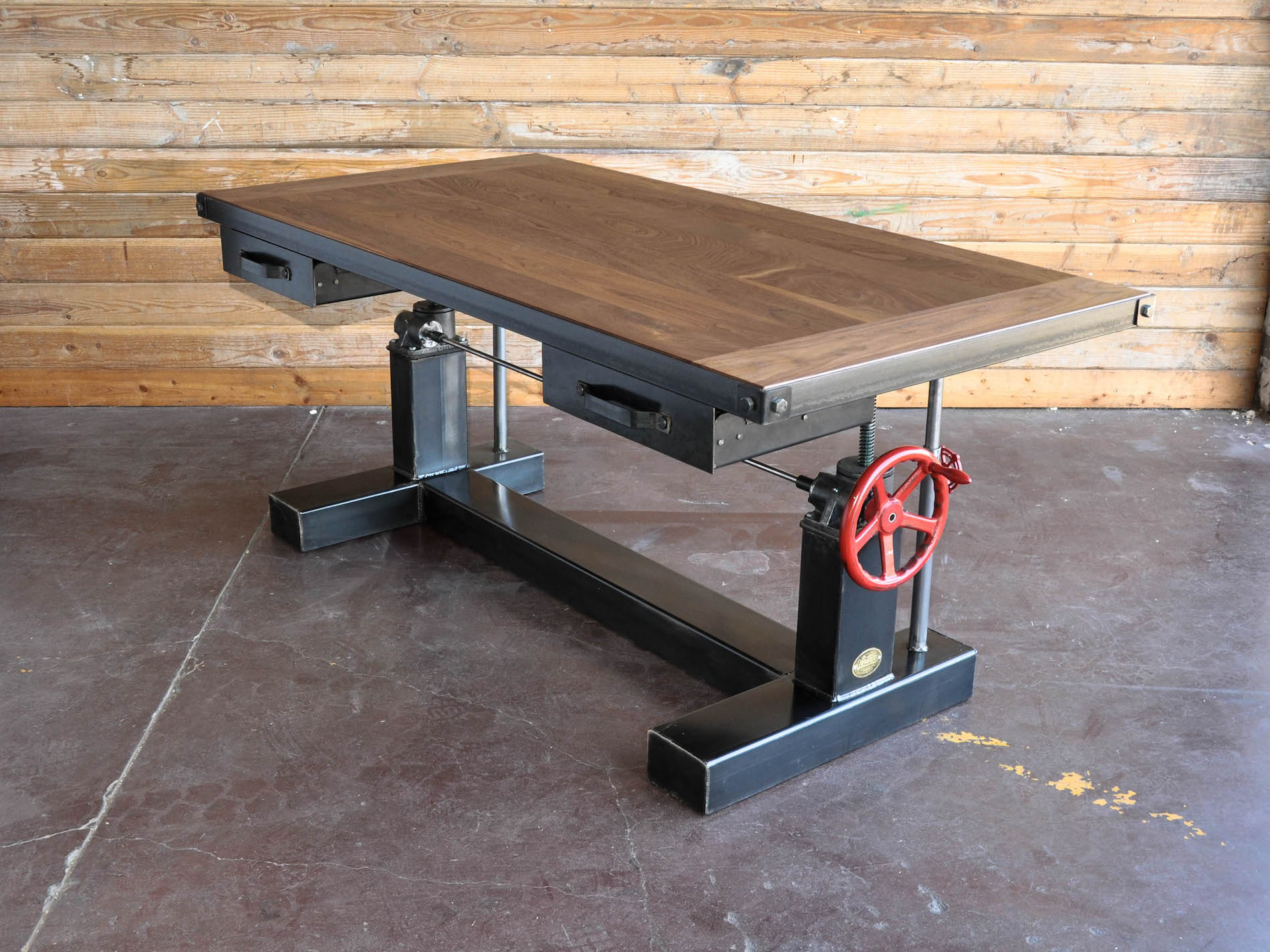 Crank Sit Stand Desk Vintage Industrial Furniture