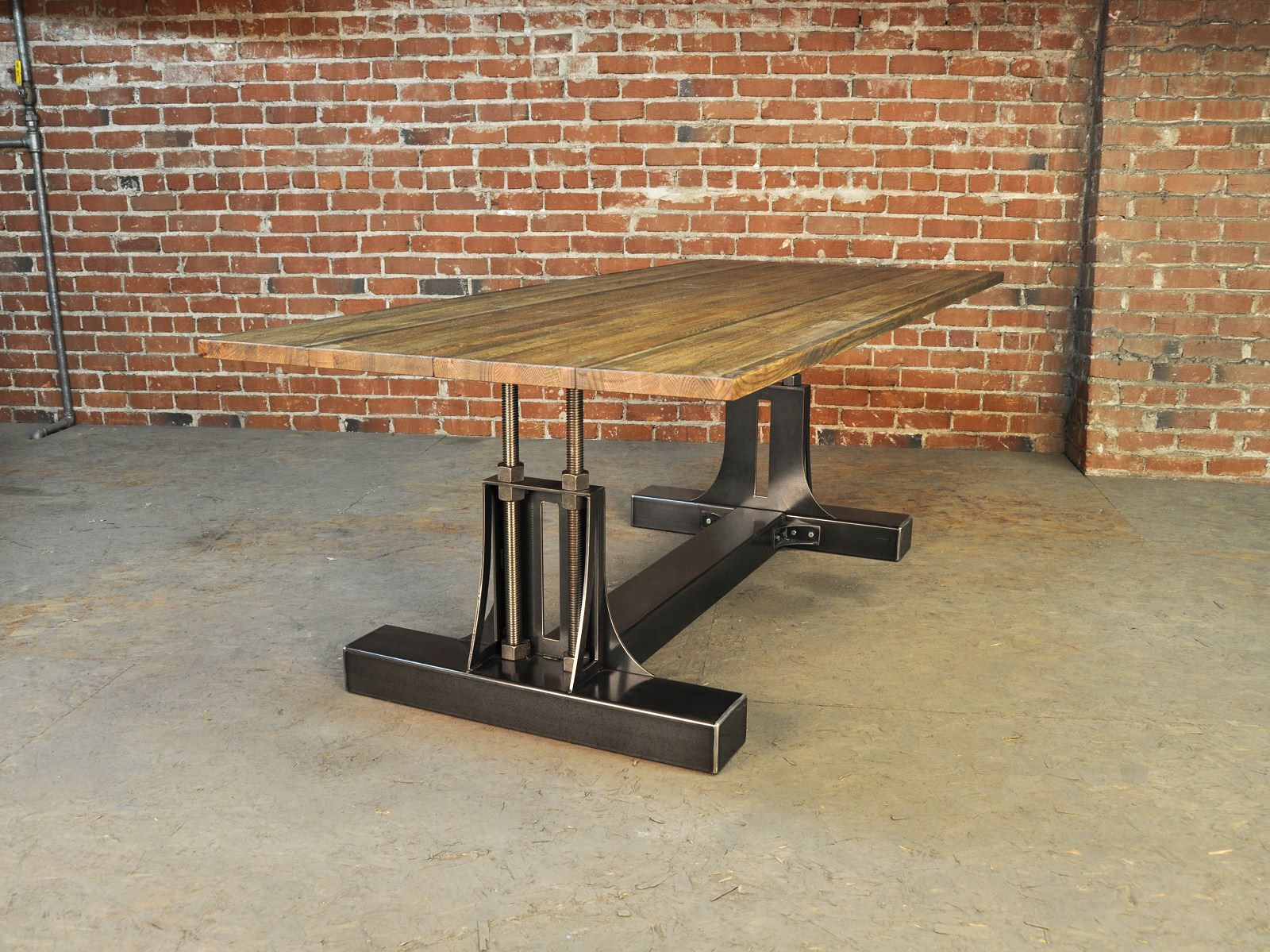 post industrial table vintage industrial furniture. Black Bedroom Furniture Sets. Home Design Ideas