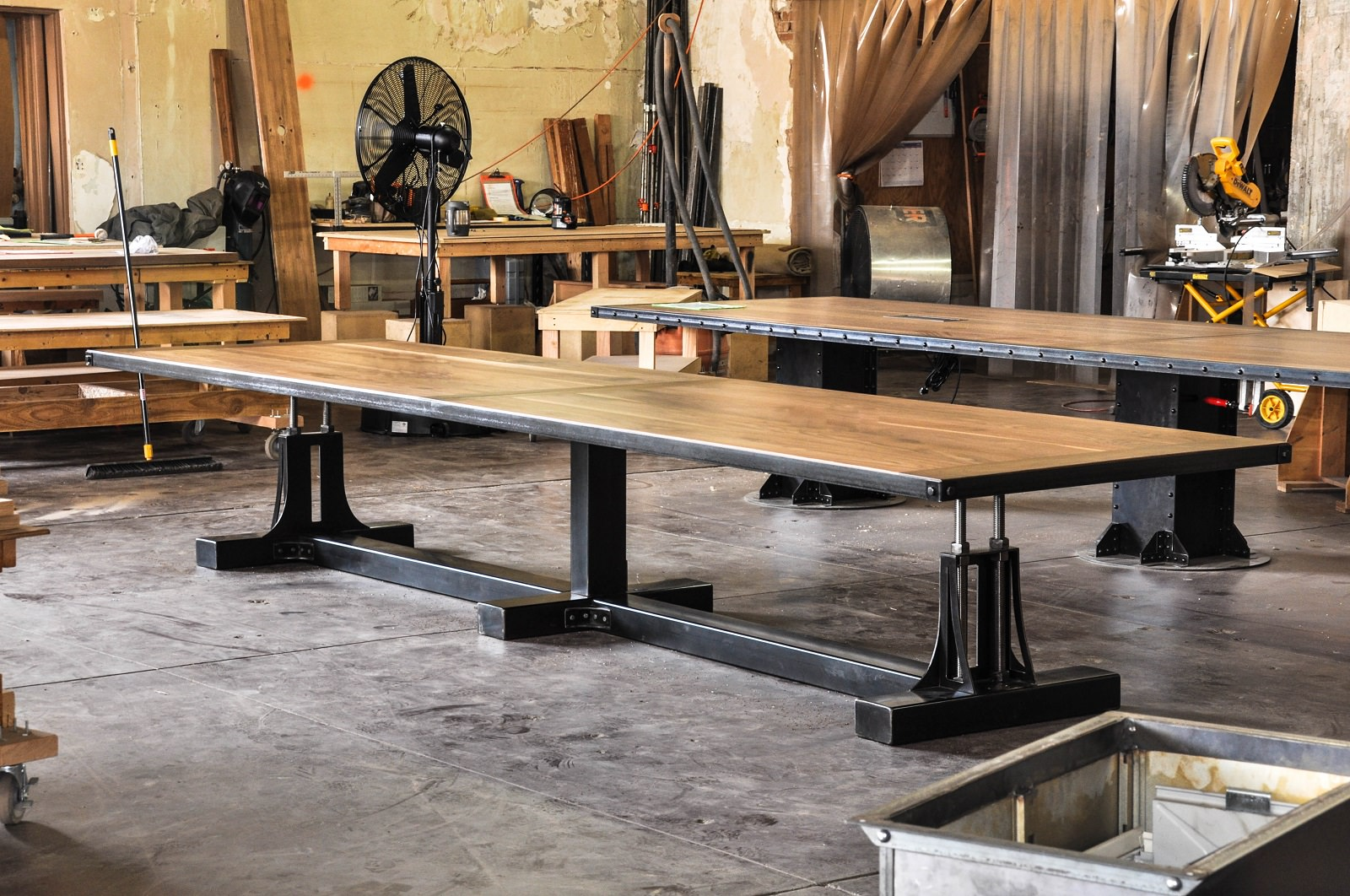 Post Industrial Conference Table Vintage Furniture