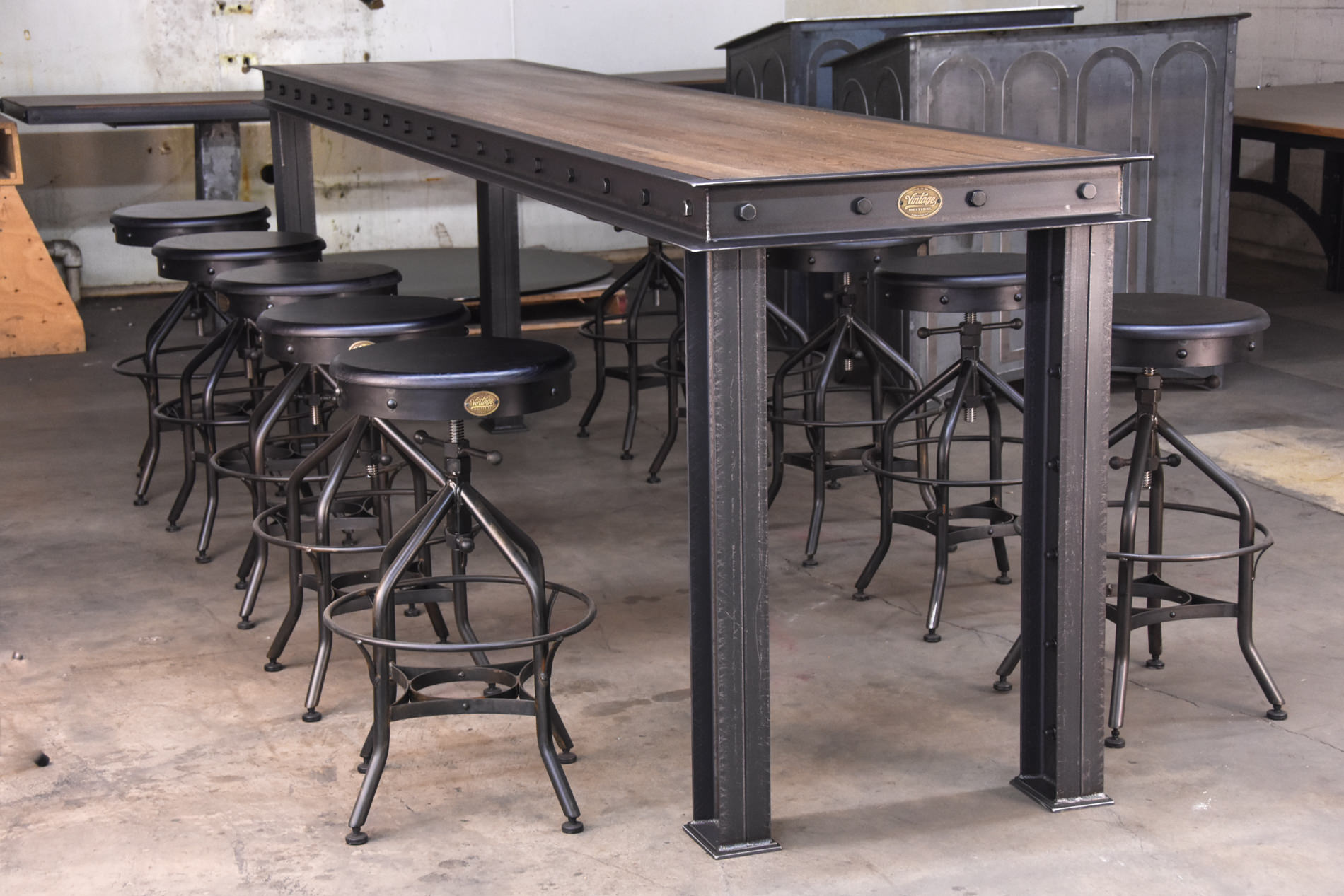 firehouse bar table vintage industrial furniture. Black Bedroom Furniture Sets. Home Design Ideas