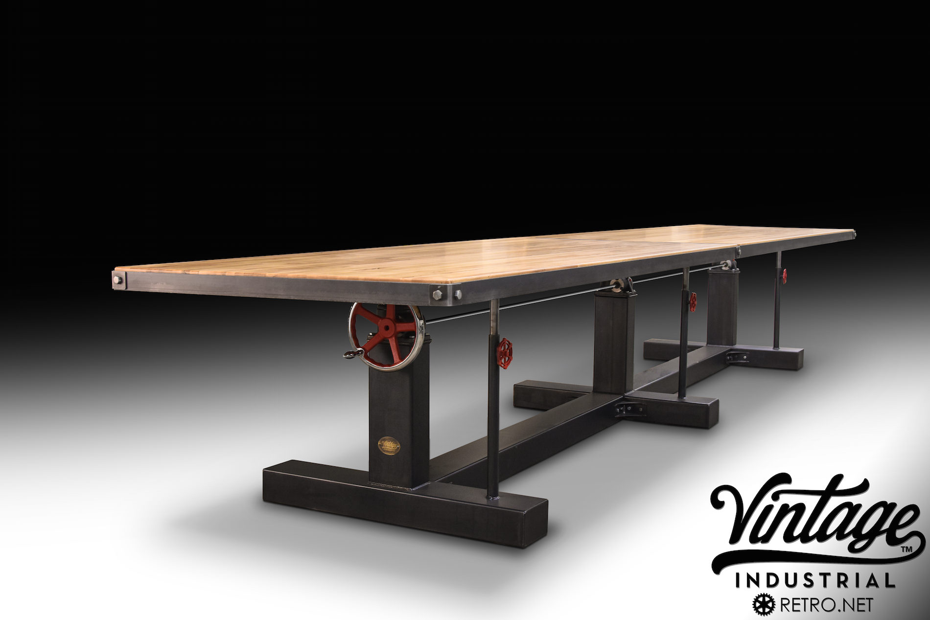Crank Conference Table Vintage Industrial Furniture - Adjustable height conference table